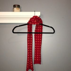 Gap knit wool narrow scarf red with orange dots